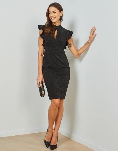 Αμάνικο μίντι shiny εφαρμοστό φόρεμα με βολάν στα μανίκια και άνοιγμα στο μπούστο - Lynne