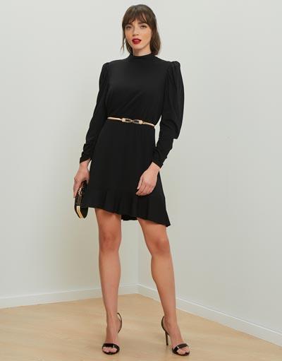 Μακρυμάνικο μίνι μαύρο φόρεμα με ελαστική μέση, φουσκωτά μανίκια και σούρες με φερμουάρ στις μανσέτες - Lynne