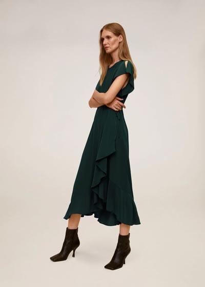 Μίντι πράσινο φόρεμα με βολάν, ελαστική μέση και κοντό μανικάκι - MANGO
