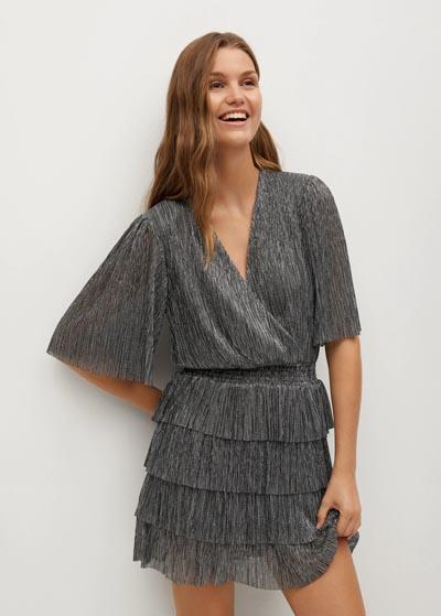 Ριχτό μεταλλιζέ μίνι φόρεμα με βολάν στη φούστα και λάστιχο στη μέση - MANGO