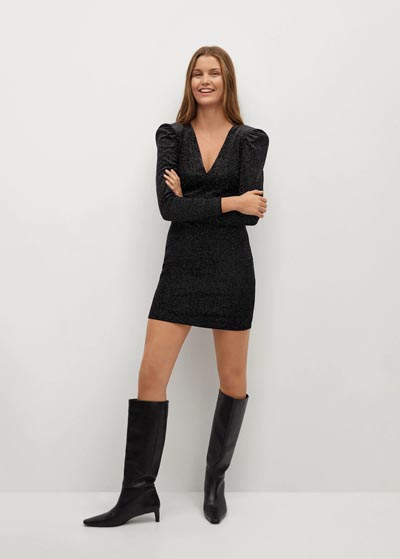 Γυαλιστερό μίνι εφαρμοστό φόρεμα με φουσκωτά μανίκια και V ντεκολτέ - MANGO