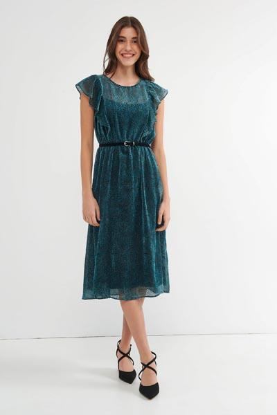 Μίντι πράσινο φόρεμα από διαφάνεια με βολάν στο μανίκι και ζώνη στη μέση - Attrattivo