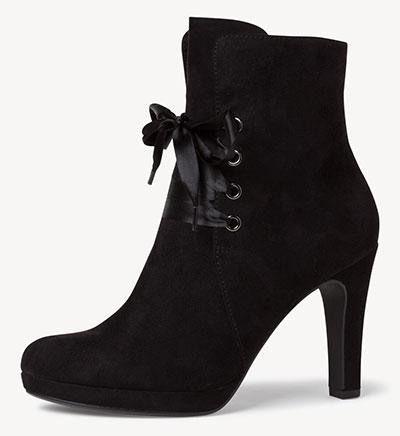 Καστόρινο μαύρο booties με σατέν κορδόνι και ψηλό τακούνι / Ταμάρις