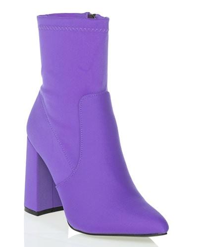 Μποτάκια λύκρα κάλτσα σε μωβ λιλά χρώμα με φερμουάρ / Tsoukalas