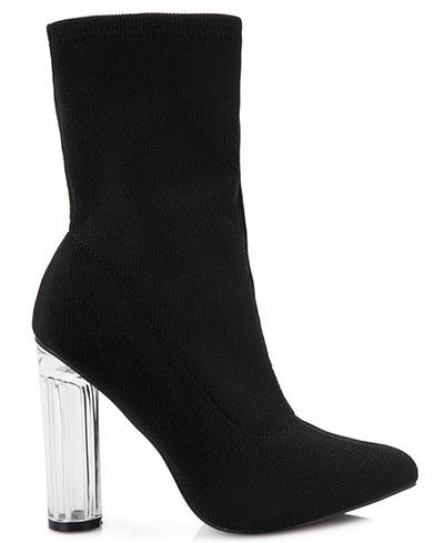 Μποτάκια μαύρη κάλτσα με διάφανο στρογγυλό τακούνι / Bozikis
