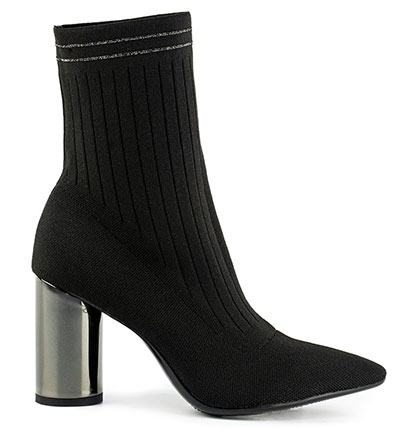 Ψηλοτάκουνα μποτίνια κάλτσα με χοντρό μεταλλικό τακούνι / Μιγκάτο