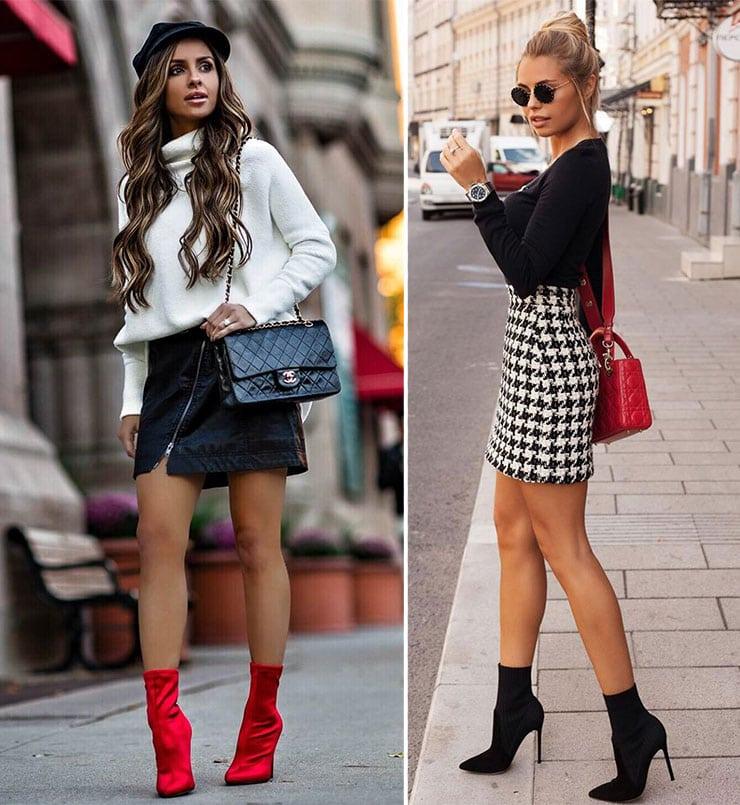 Chic ντυσίματα με μποτάκια και φούστα