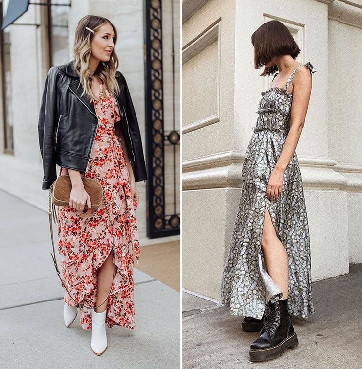 Θηλυκά ντυσίματα με μακρύ φόρεμα και μποτάκια
