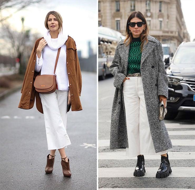 Chic outfit με ζιπ κιλότ και μποτάκι