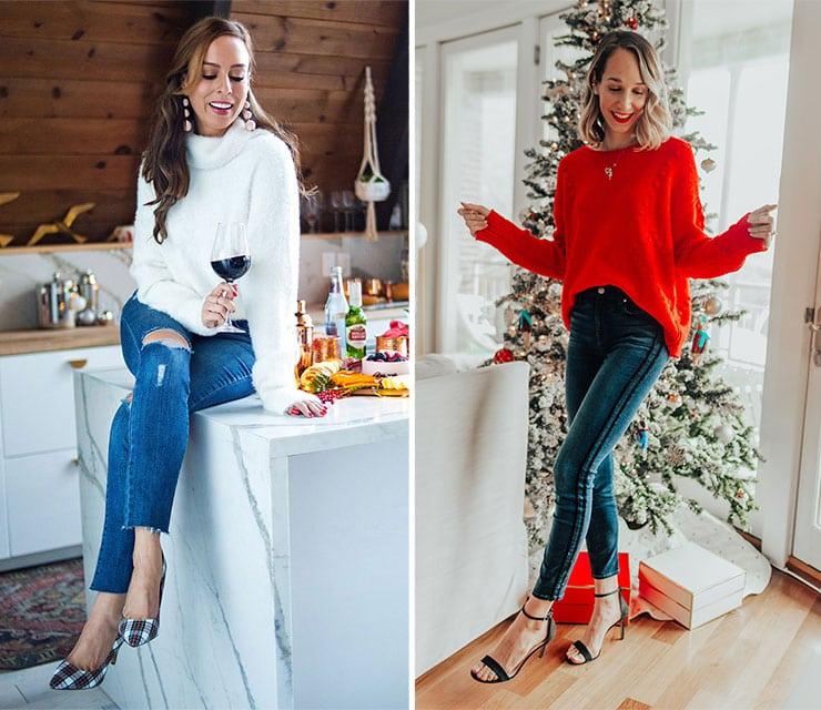 Casual chic ντύσιμο με τζιν παντελόνι για τις γιορτές