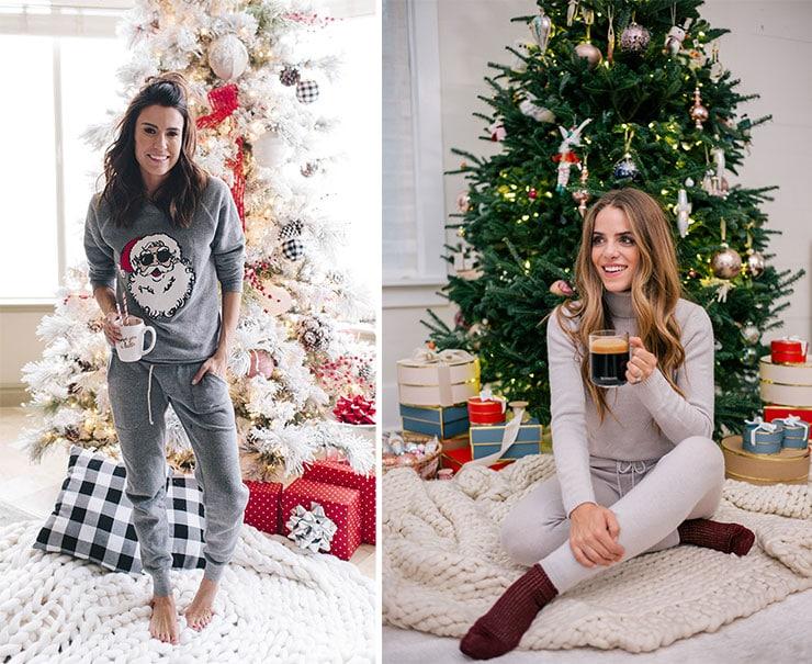 Άνετη εμφάνιση με μια φόρμα στο σπίτι για τα Χριστούγεννα και την Πρωτοχρονιά