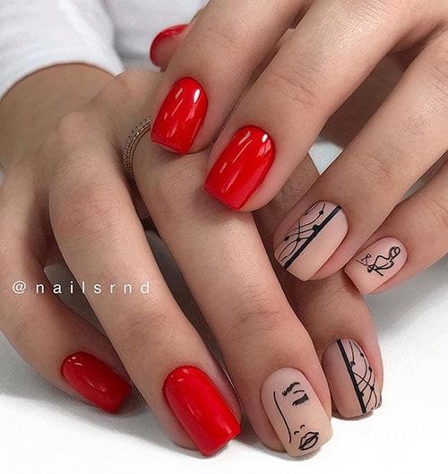 Κόκκινα νύχια με γραμμικά σχέδια νυχιών